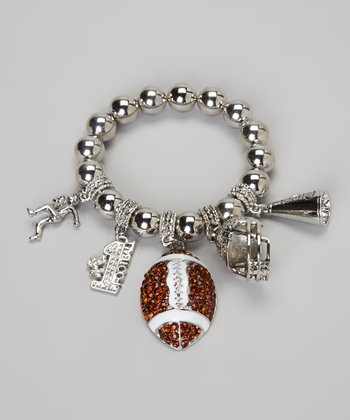Brown Football Charm Bracelet