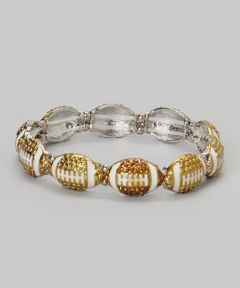 Gold Small Football Stretch Bracelet
