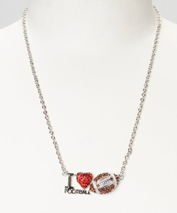 Silver 'I Love Football' Necklace