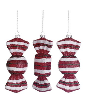 Glittering Striped Candy Ornament Set