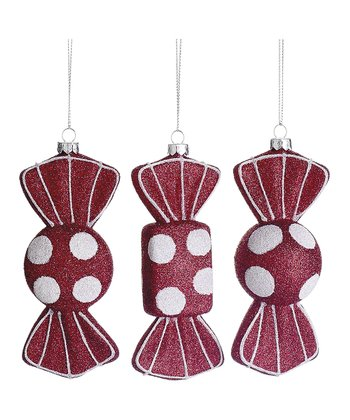 Glittering Polka Dot Candy Ornament Set