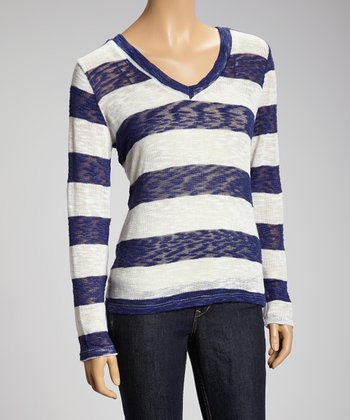Navy & White Stripe Knit Long-Sleeve Sweater