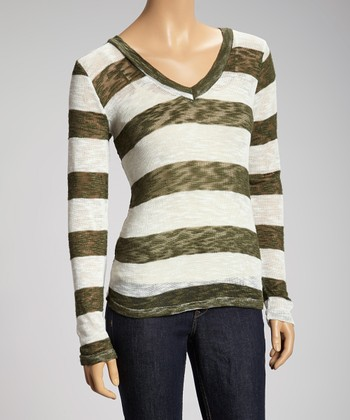 Olive & White Stripe Knit Long-Sleeve Sweater