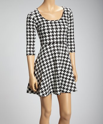 Black & White Houndstooth Three-Quarter Sleeve Dress