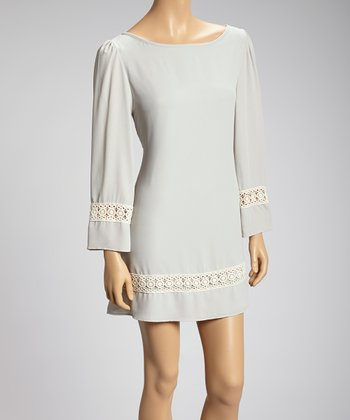 Silver Crocheted Trim Dress