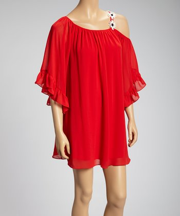 Red Daisy-Chain Asymmetrical Dress