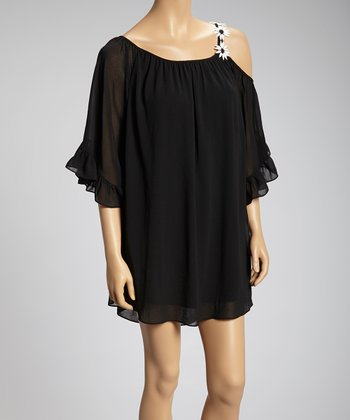 Black Daisy-Chain Asymmetrical Dress
