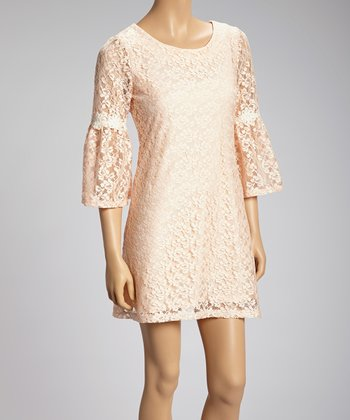 Peach Lace Bell-Sleeve Dress