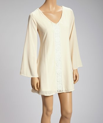 Cream Lace Panel Dress