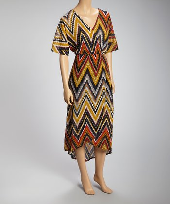 Navy & Chartreuse Zigzag Surplice Maxi Dress