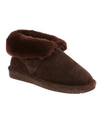 Chocolate Tristen Fold-Over Suede Slipper - Women