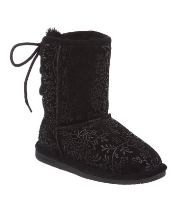 Black Ellie Youth Suede Boot - Kids