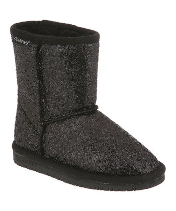 Black Glitter Cheri Boot - Kids