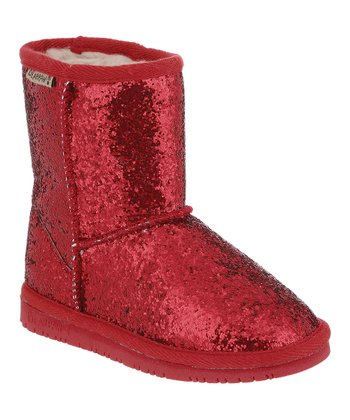 Red Glitter Cheri Boot - Kids