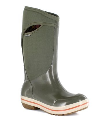 Green Plimsoll Solid Tall Boot
