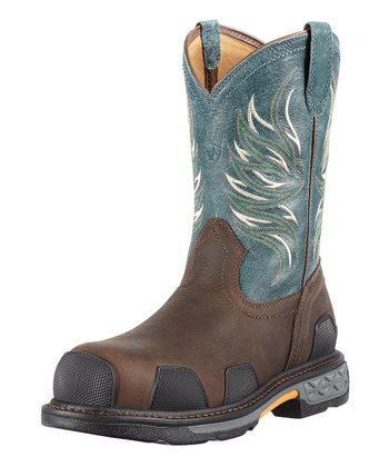 Dark Brown & Blue Overdrive West Pull-On Boot - Men