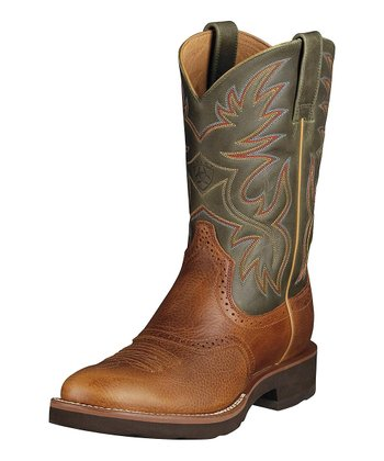 Tan & Green Heritage Crepe Boot - Men