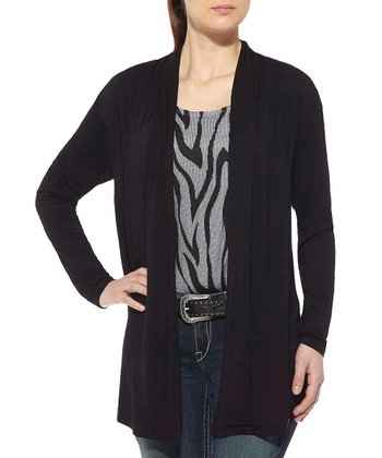 Black Zebra Open Cardigan - Women