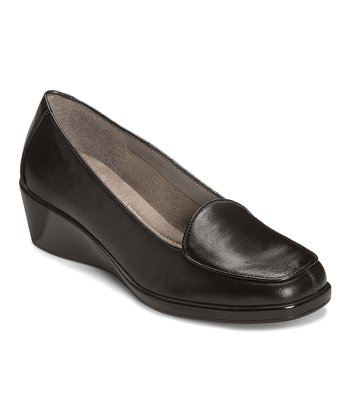 Black Tembroidery Wedge Loafer