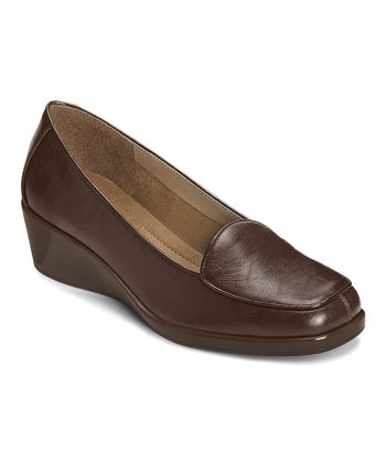 Brown Tembroidery Wedge Loafer