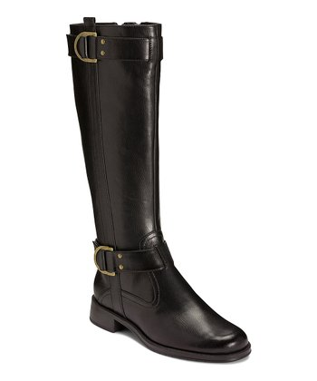 Black Trident Wide Calf Boot
