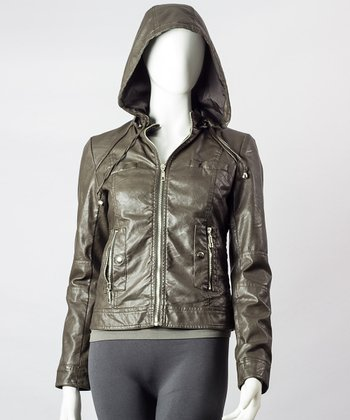 Coffee Hooded Motorcycle Jacket - Women