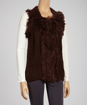 Brown Faux Fur Wool-Blend Sweater Vest