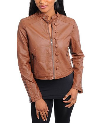 Brown Button Faux Leather Moto Jacket - Women