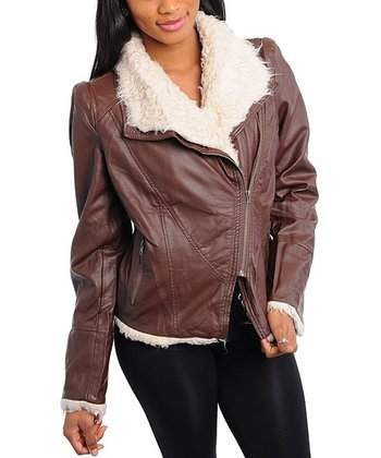 Dark Brown Faux Leather Moto Jacket - Women