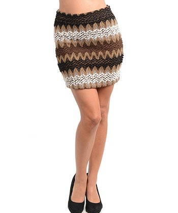 Brown & White Zigzag Skirt - Women