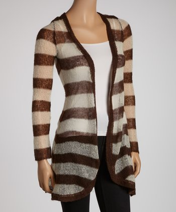 Taupe Stripe Open Cardigan - Women