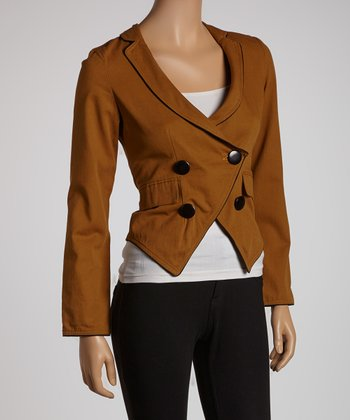 Olive & Black Blazer - Women