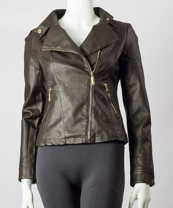 Coffee Asymmetrical Faux Leather Jacket - Women