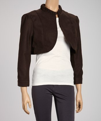 Brown Ruffle Long-Sleeve Bolero - Women
