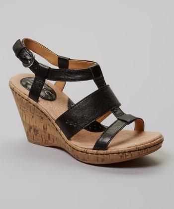 Black Farris Wedge Leather Sandal