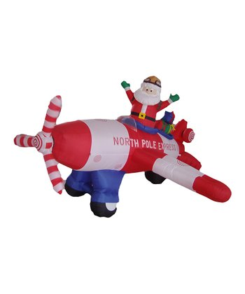 BZB Goods Santa & Plane Inflatable Light-Up Lawn Decoration
