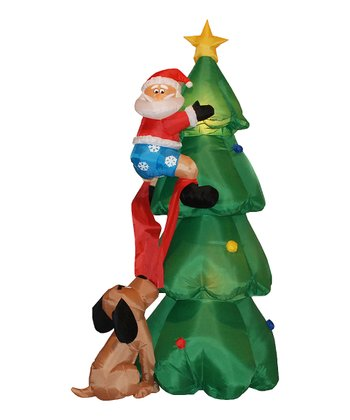 Santa on Tree Inflatable Light-Up Lawn Decoration