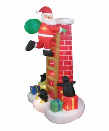 Santa on Chimney Inflatable Light-Up Lawn Decoration