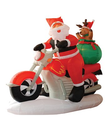 BZB Goods Santa on Motorcycle Inflatable Light-Up Lawn Decoration