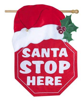'Santa Stop Here' Light Up Flag