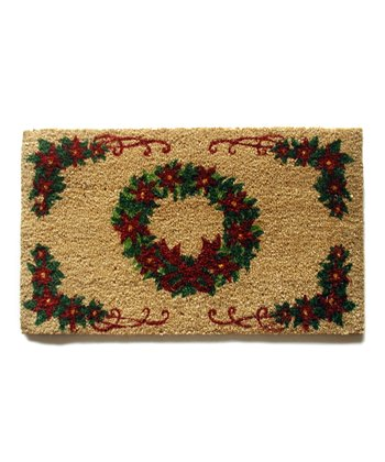 Red Holiday Wreath Doormat