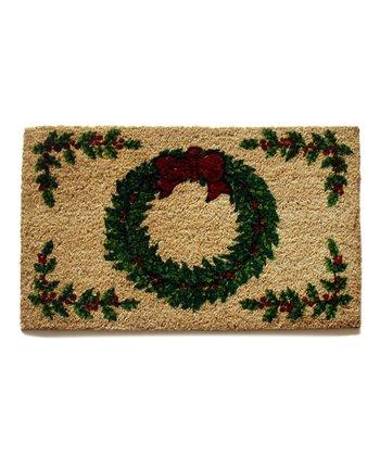 Green Holiday Wreath Doormat