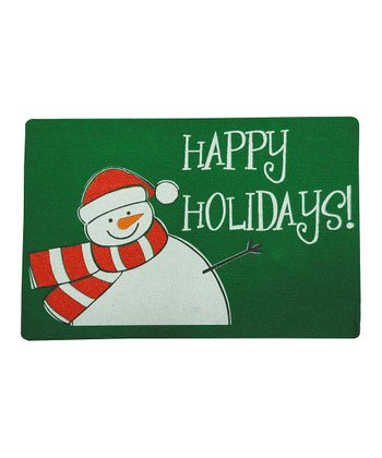 'Happy Holidays' Snowman Recycled Doormat