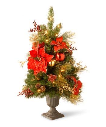 Poinsettia Lighted Tree Pot