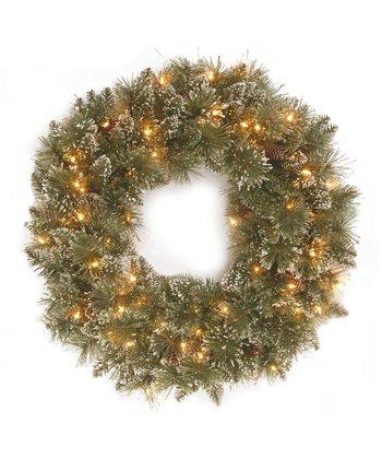 Glittery Bristle Lighted Wreath