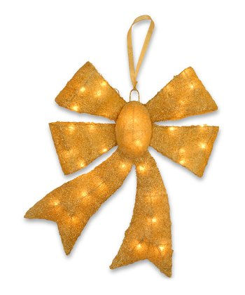 Gold Lighted Sisal Bow Decoration