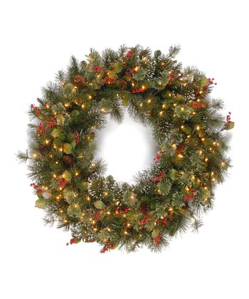 48'' Wintry Pine Lighted Wreath