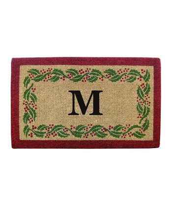 Holly Ivy Border Initial Doormat