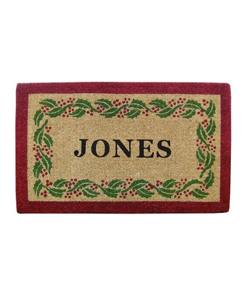 Holly Ivy Border Personalized Doormat