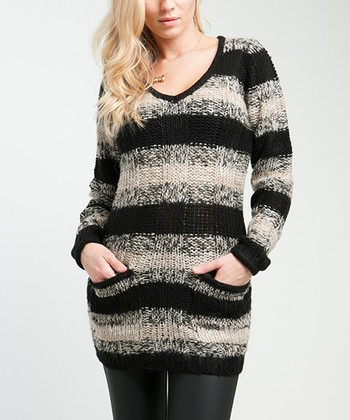 Gray & Black Stripe Pocket V-Neck Sweater